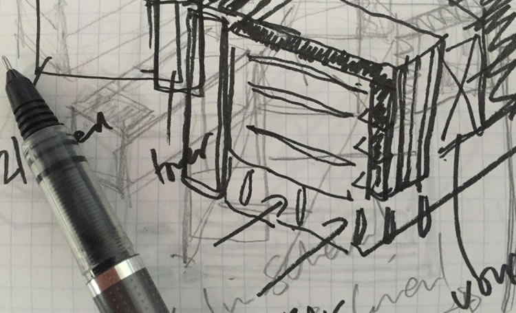 architects sketch with pen